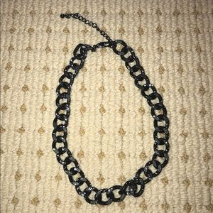 Black chain necklace with white speckles